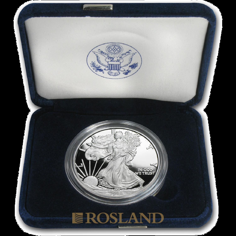 1 Unze Silbermünze American Eagle 2008 (W) PP (Box, Zertifikat)
