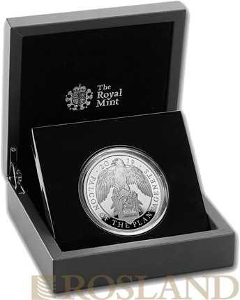 5 Unzen Silbermünze Queens Beasts Falke 2019 PP (Box, Zertifikat)