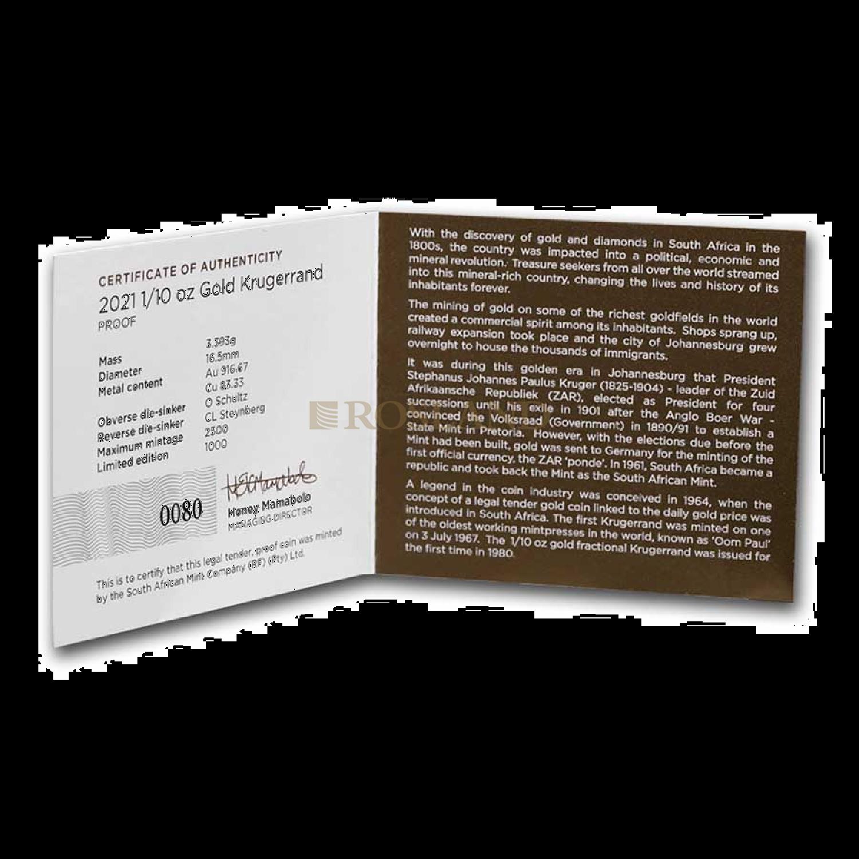 1/10 Unze Goldmünze Krügerrand 2021 PP (Box, Zertifikat)