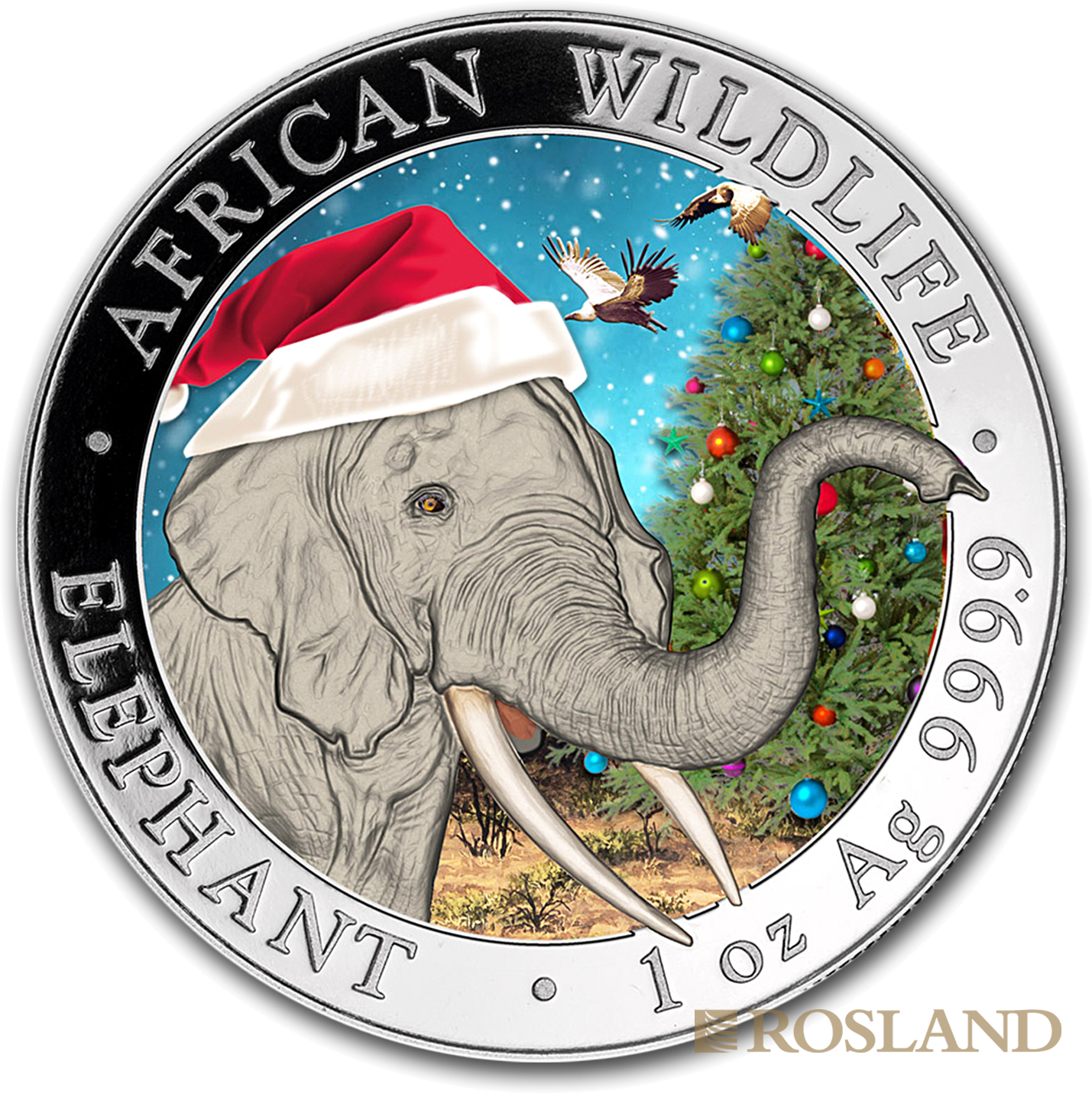 1 Unze Silbermünze Somalia Elefant 2018 Weihnachten Schneekugel (Koloriert, Box, Zertifikat)