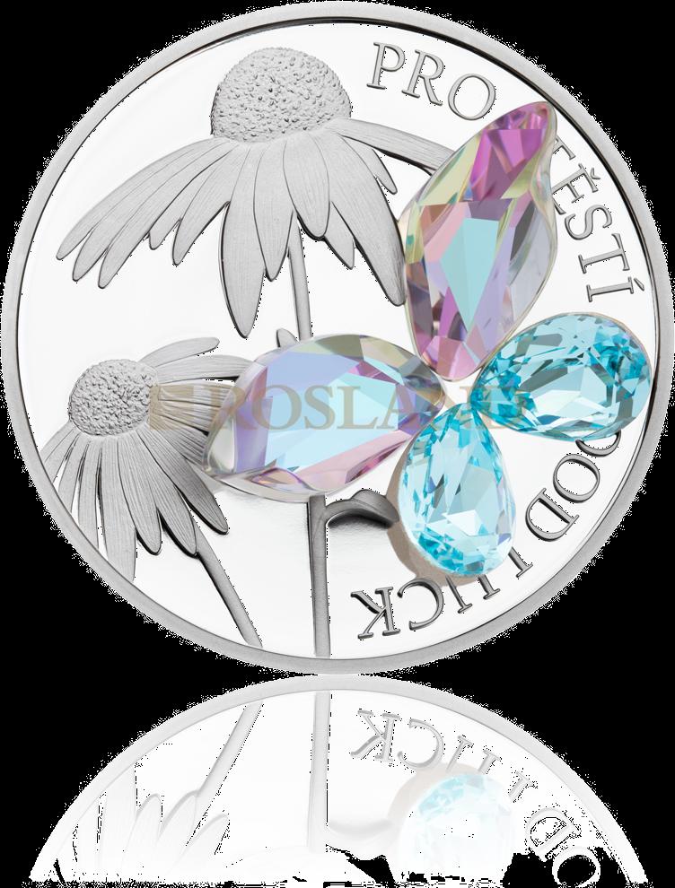 1 Unze Silbermünze Niue Good Luck 2019 PP (Box, Zertifikat, Edelstein)