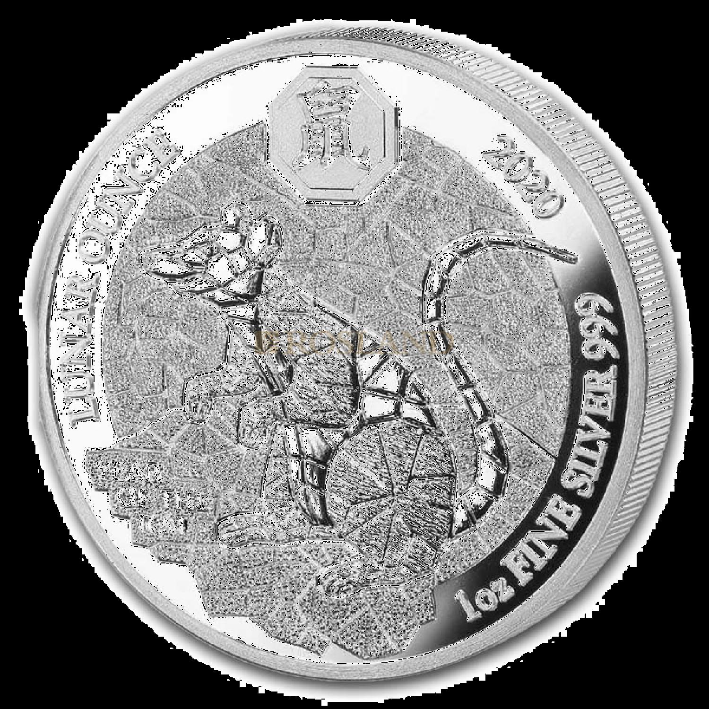 1 Unze Silbermünze Ruanda Lunar Ratte 2020 PP