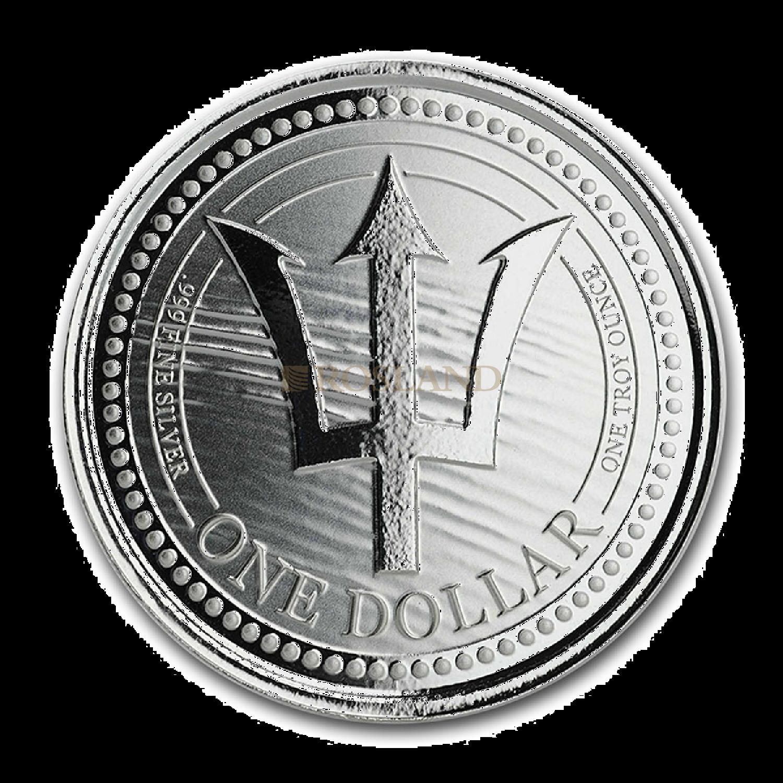 1 Unze Silbermünze Barbados Dreizack 2020