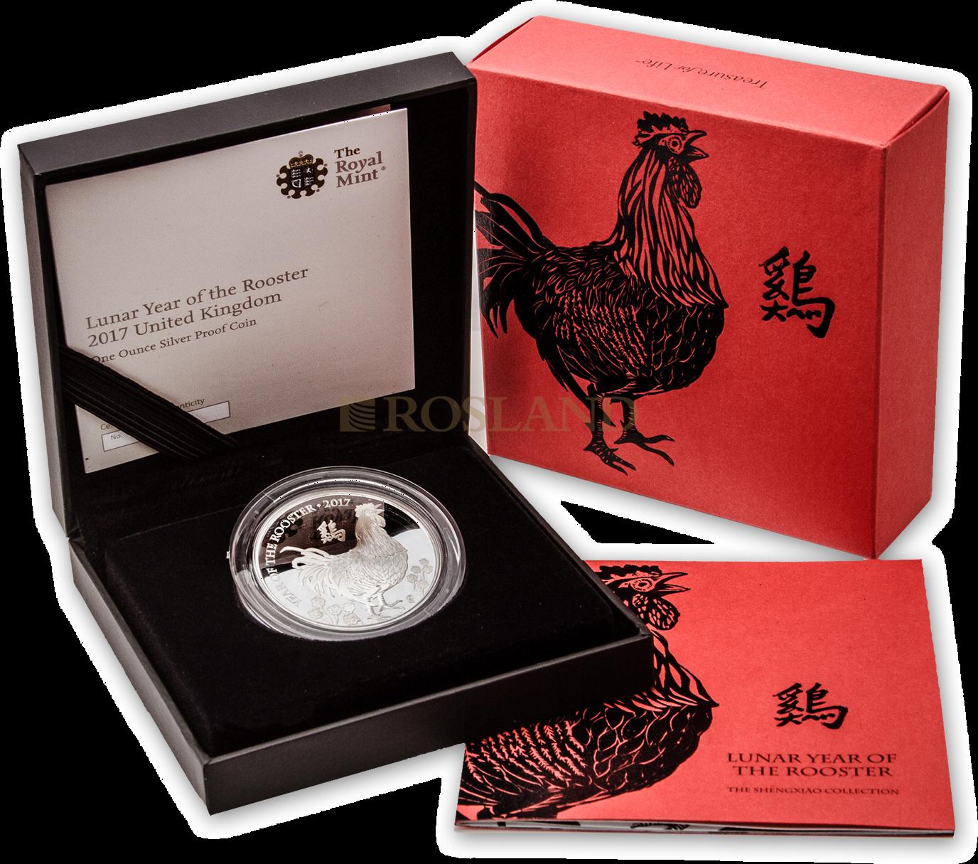 1 Unze Silbermünze Great Britain Jahr des Hahnes 2017 PP (Box, Zertifikat)