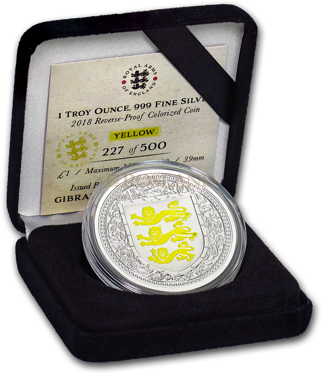 1 Unze Silbermünze Royal Arms of England 2018 PP (Gelb, Box, Zertifikat)