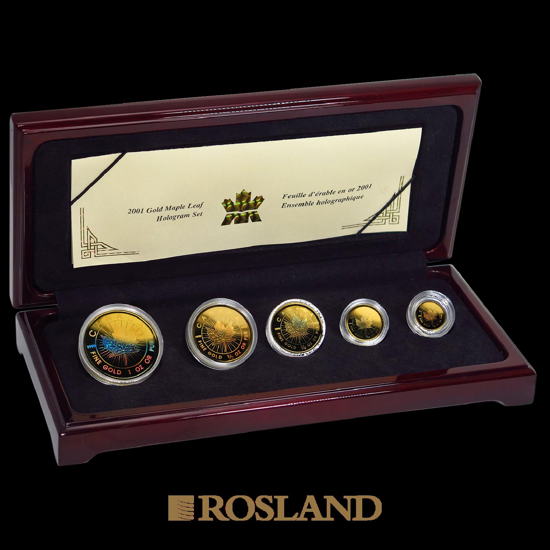 5 Goldmünzen Maple Leaf Set Hologramm 2001 PP 15 Jahre Jubiläum
