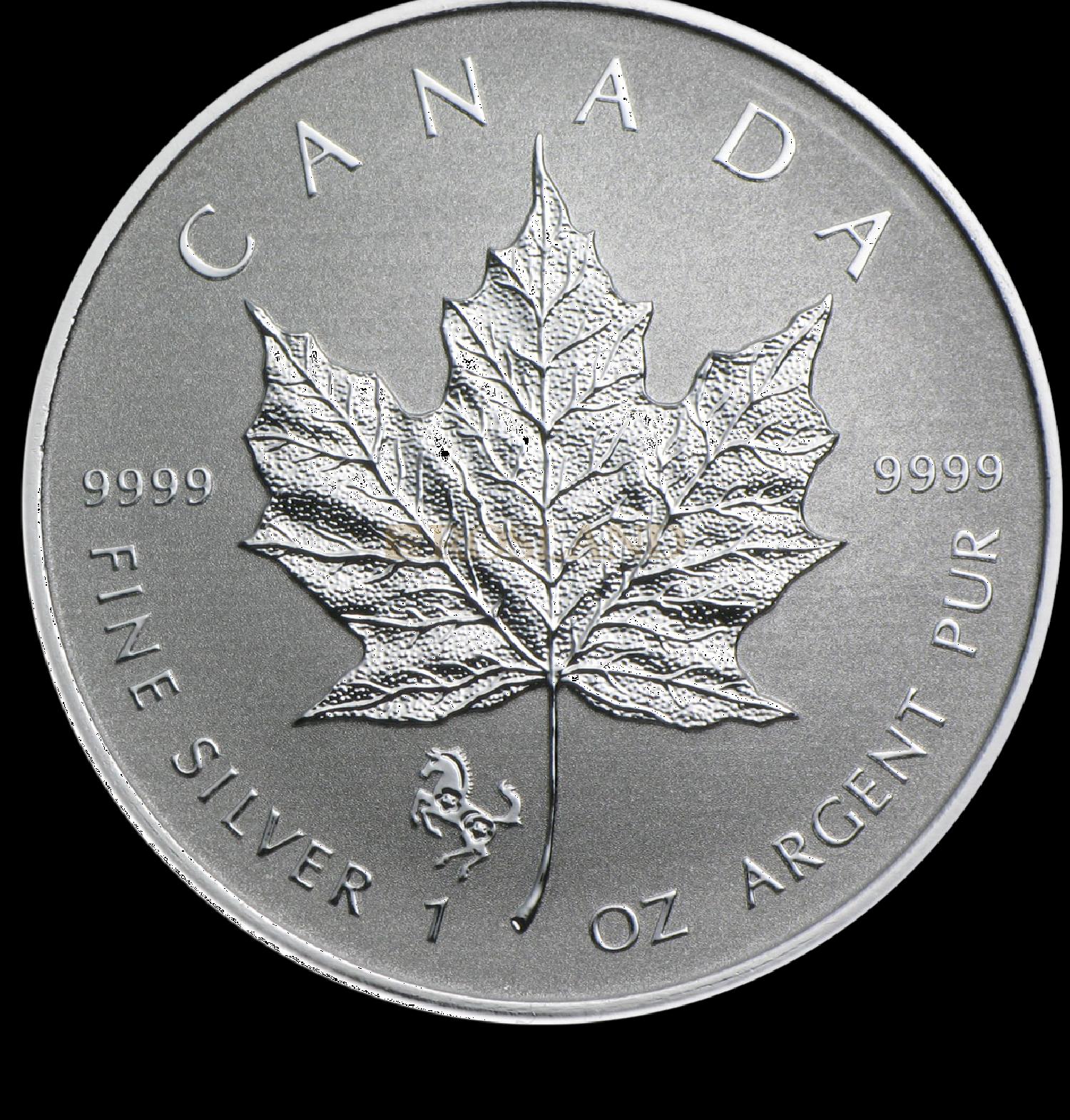 1 Unze Silbermünze Kanada Maple Leaf Lunar Pferd 2014
