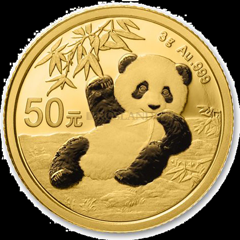3 Gramm Goldmünze China Panda 2020