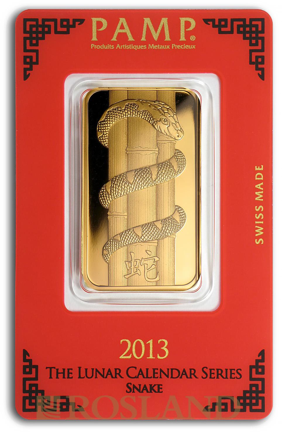 1 Unze Goldbarren PAMP Lunar Jahr der Schlange 2013