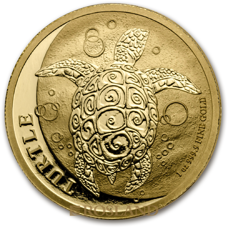 1 Unze Goldmünze Hawksbill Schildkröte 2017