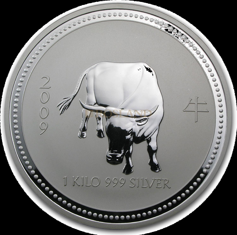 1 Kilogramm Silbermünze Australien Lunar 1 Ochse 2009