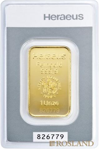 1 Unze Goldbarren Heraeus Kinebar®