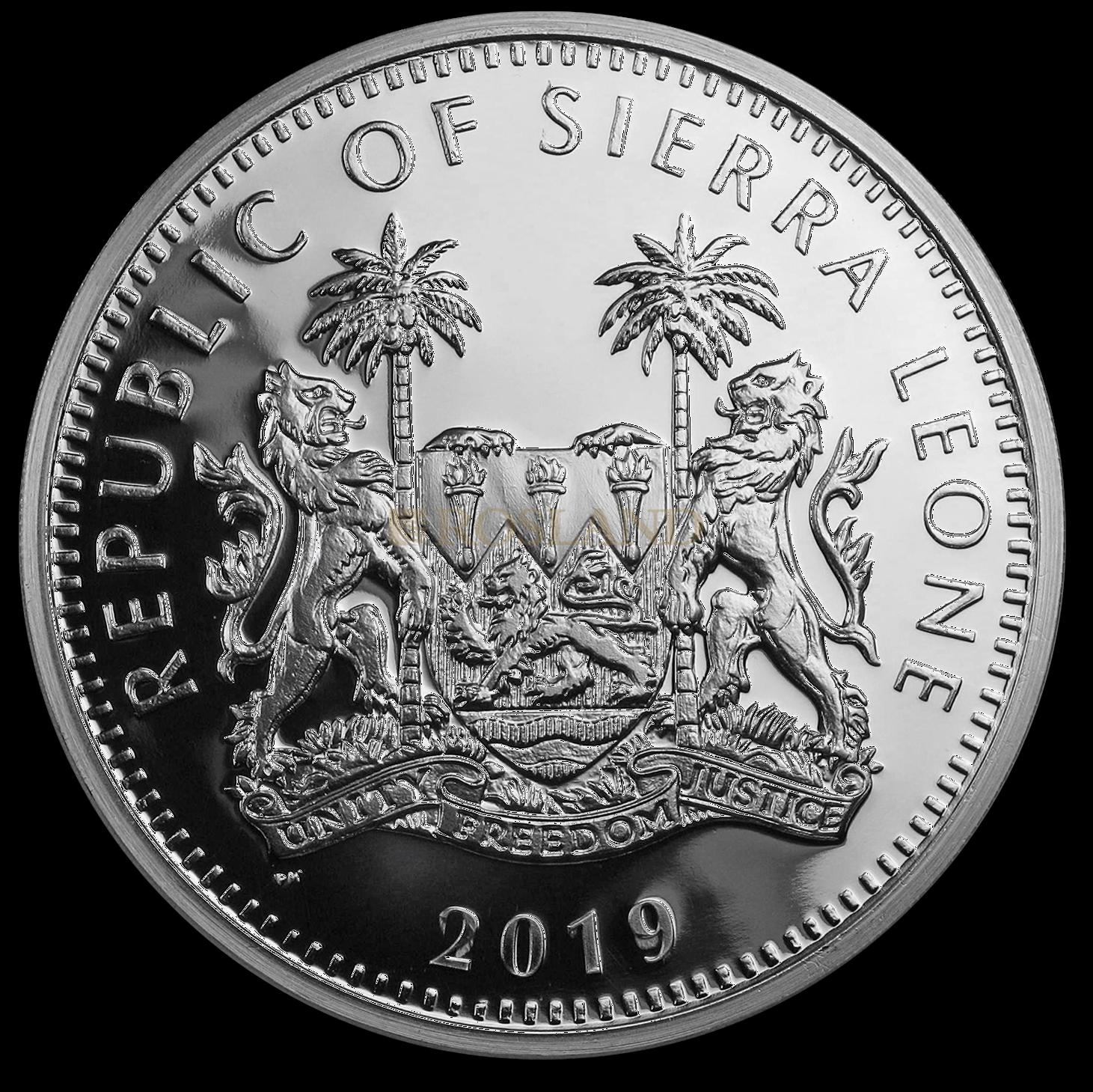 2 Unzen Silbermünze Sierra Leone Buffalo 2019 PCGS PR-69 (DCAM, HR, Shield)
