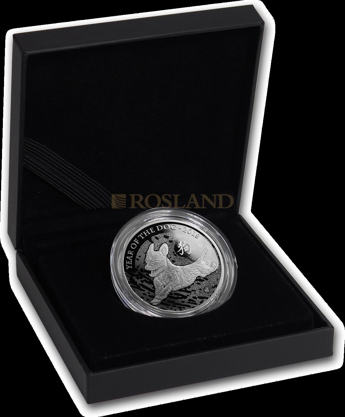 1 Unze Silbermünze Great Britain Jahr des Hundes 2018 PP (Box, Zertifikat)