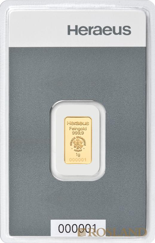 1 Gramm Goldbarren Heraeus Kinebar®