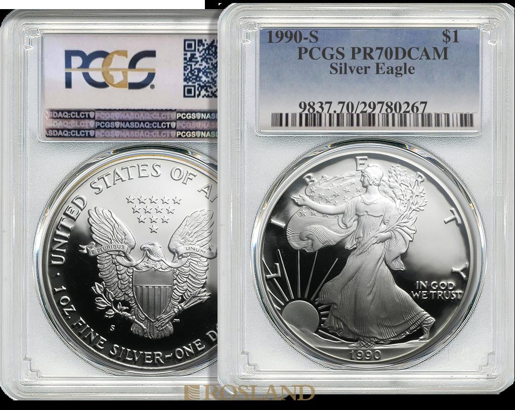 1 Unze Silbermünze American Eagle 1990 (S) PP PCGS PR-70 DCAM