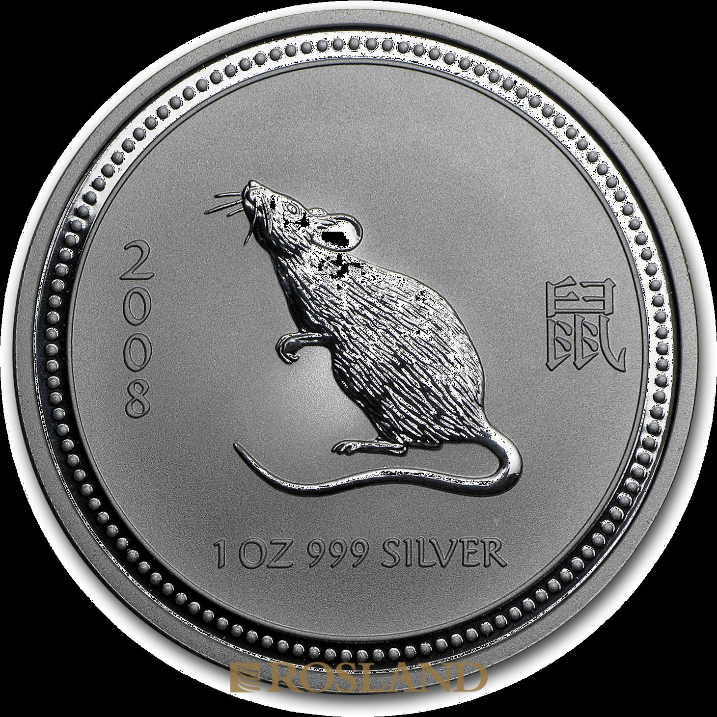 1 Unze Silbermünze Australien Lunar 1 Maus 2008