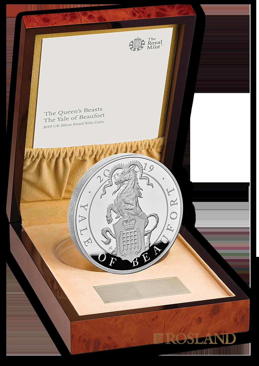 1 Kilogramm Silbermünze Queens Beasts Yale 2019 PP (Box, Zertifikat)