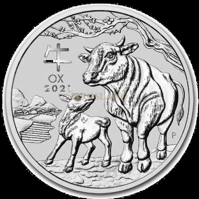 5 Unzen Silbermünze Lunar 3 Ochse 2021