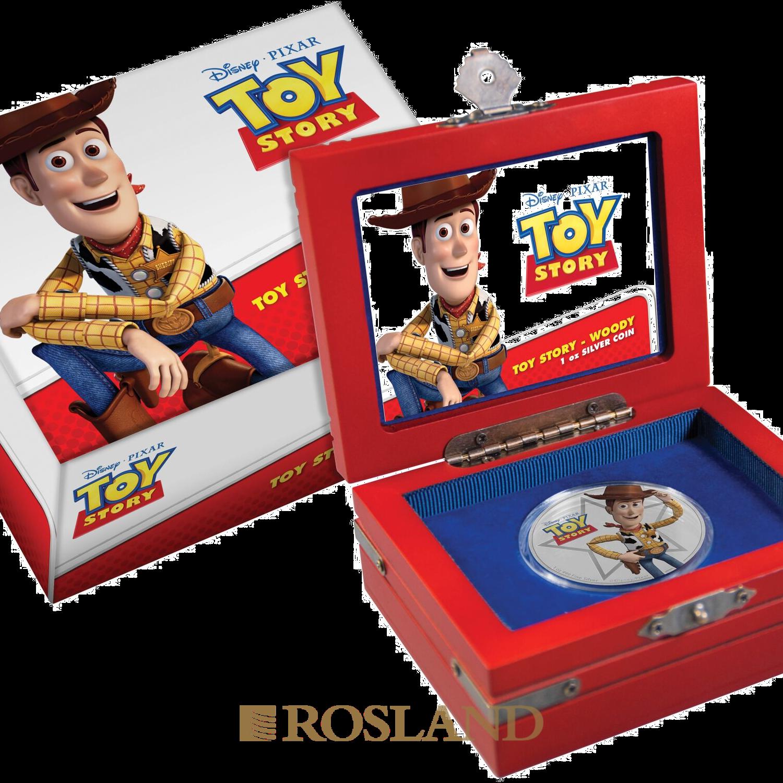 1 Unze Silbermünze Niue Toy Story Woody 2018 (Koloriert, Box)