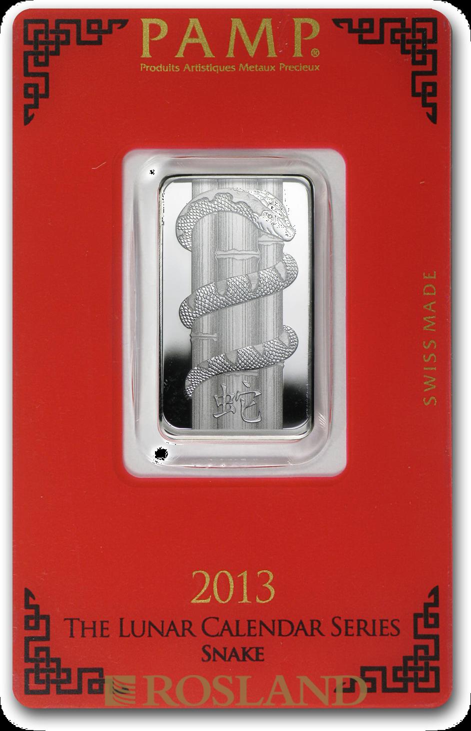 10 Gramm Silberbarren PAMP Lunar Jahr der Schlange 2013