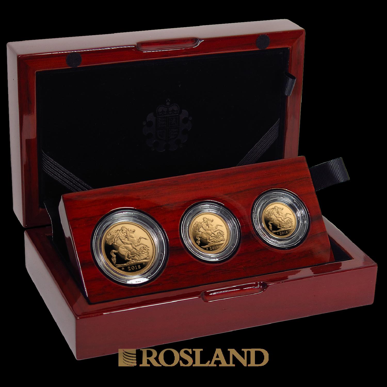 .823 Unzen - 3 Goldmünzen Set Großbritannien 2018 PP (Box, Zertifikat)