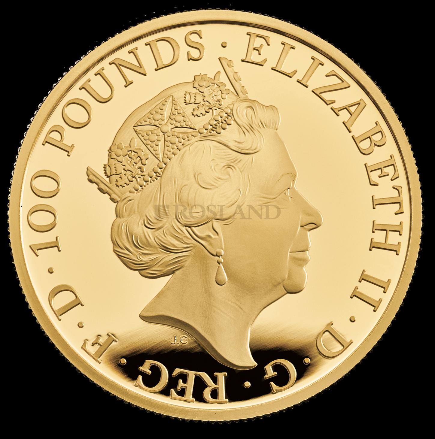 1 Unze Goldmünze Queens Beasts White Lion 2020 PP (Box, Zertifikat)