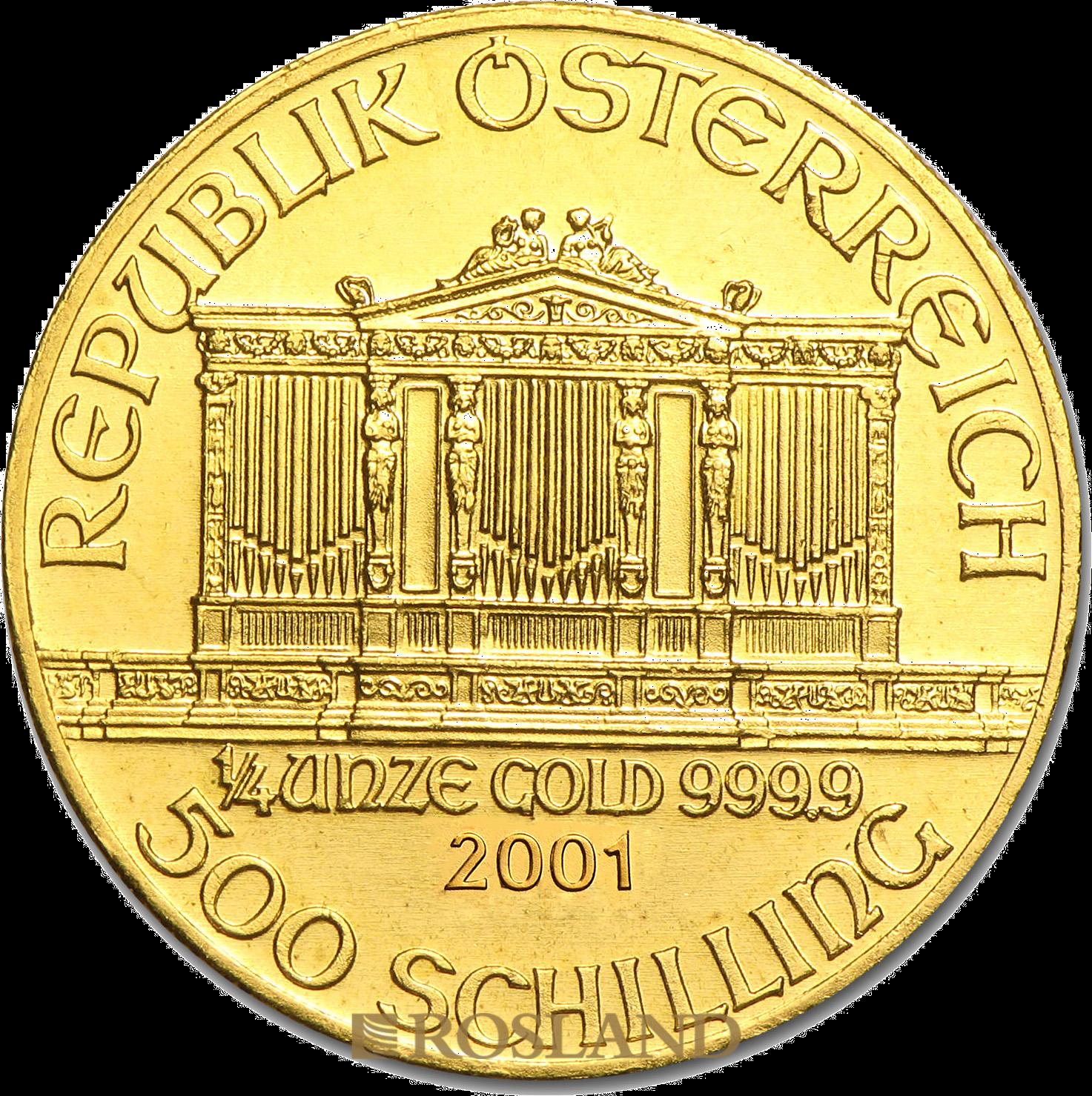 1/4 Unze Goldmünze Wiener Philharmoniker 2001 (Proof-Like)