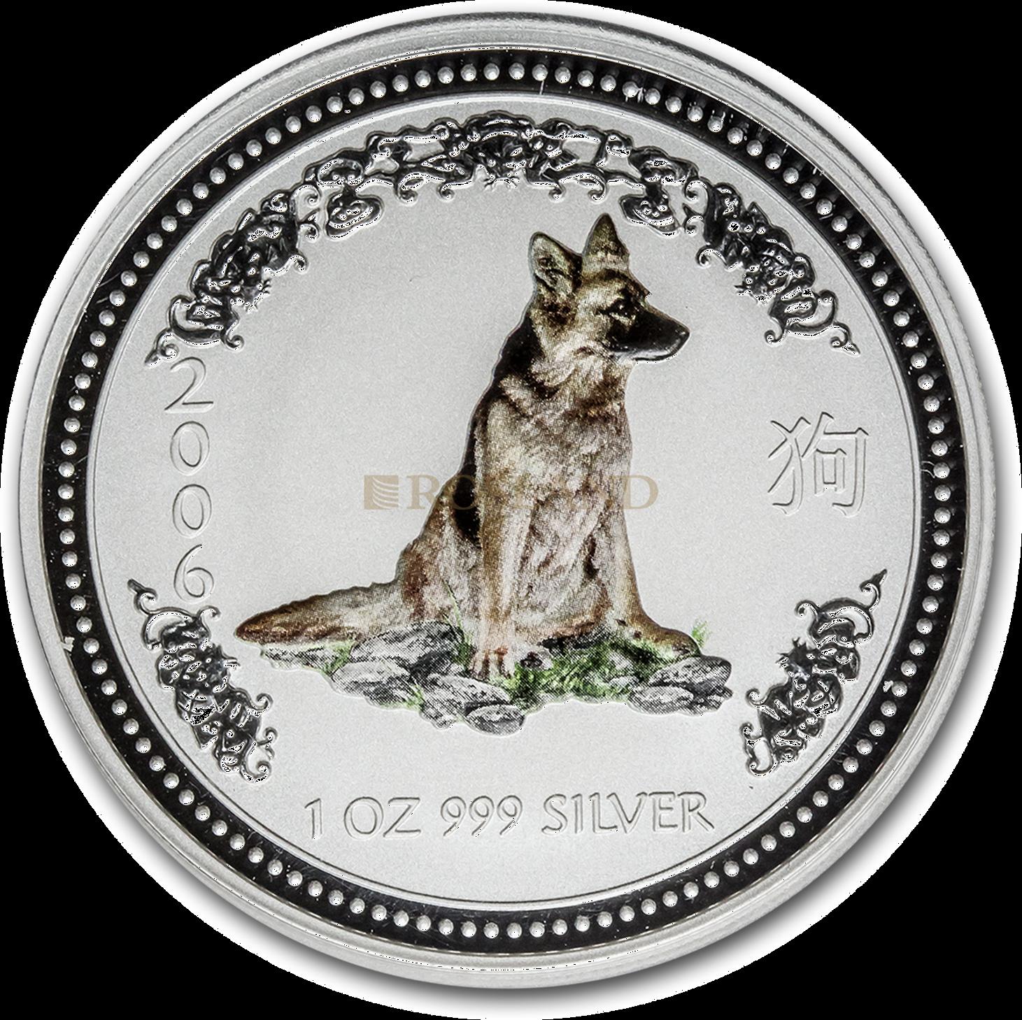 1 Unze Silbermünze Australien Lunar 1 Hund 2006 (Koloriert)