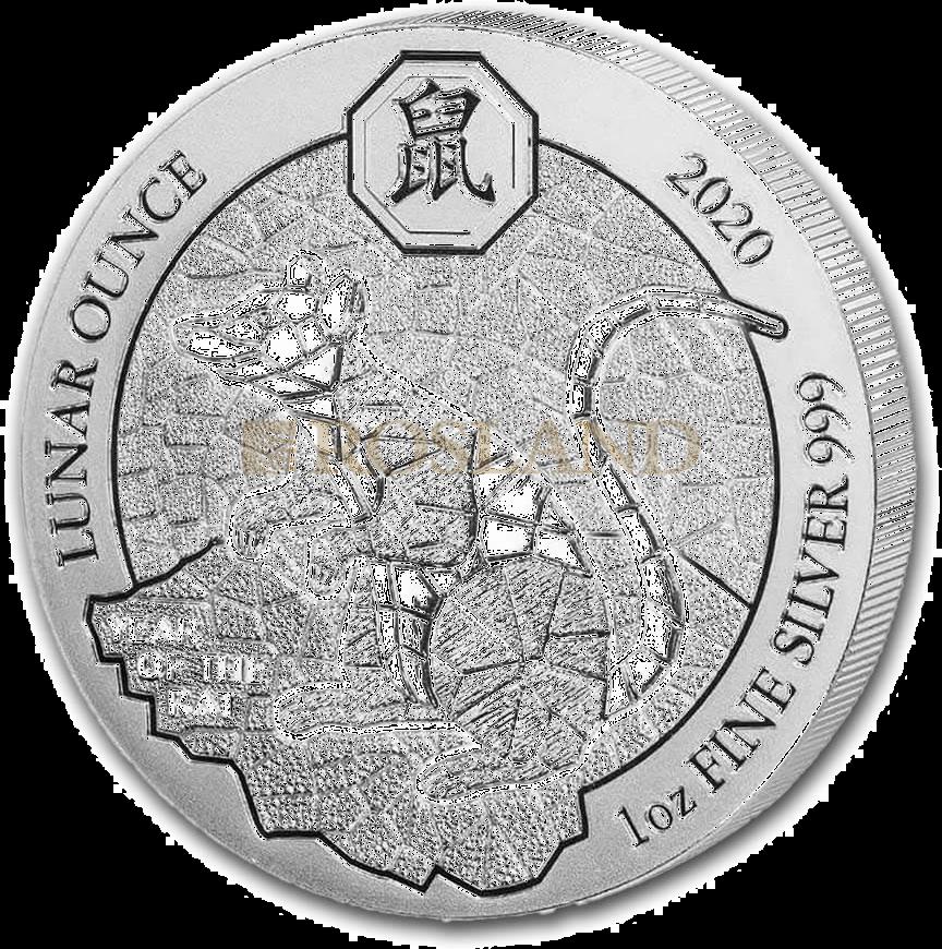 1 Unze Silbermünze Ruanda Lunar Ratte 2020