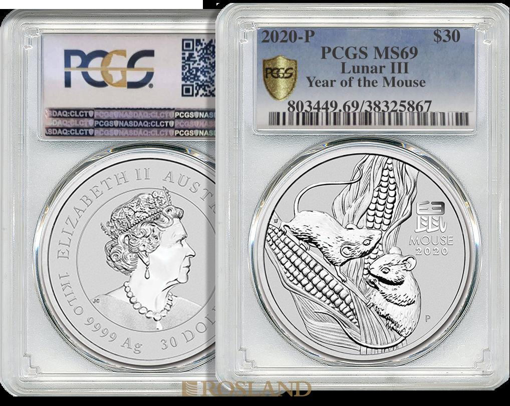 1 Kilogramm Silbermünze Lunar 3 Maus 2020 PCGS MS-69 (Shield)