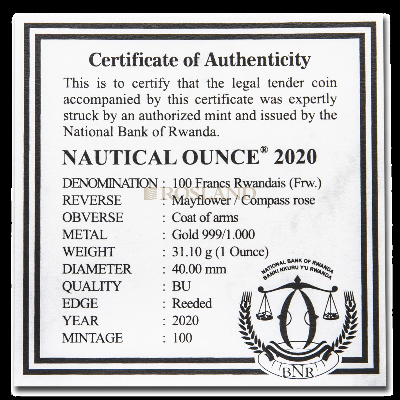 1 Unze Goldmünze Ruanda Nautical Mayflower 2020 (Box, Zertifikat)