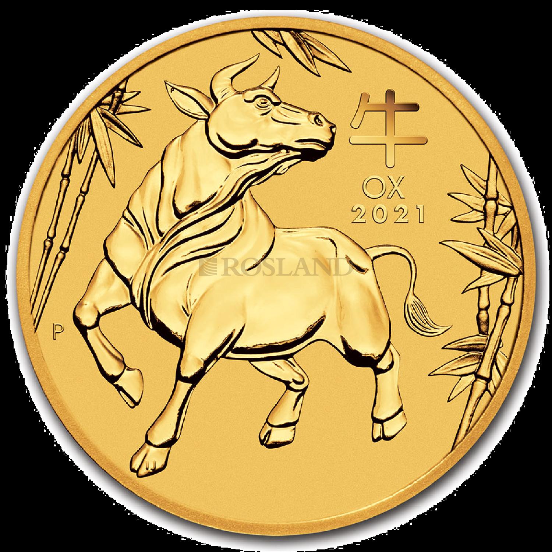 1/2 Unze Goldmünze Lunar 3 Ochse 2021