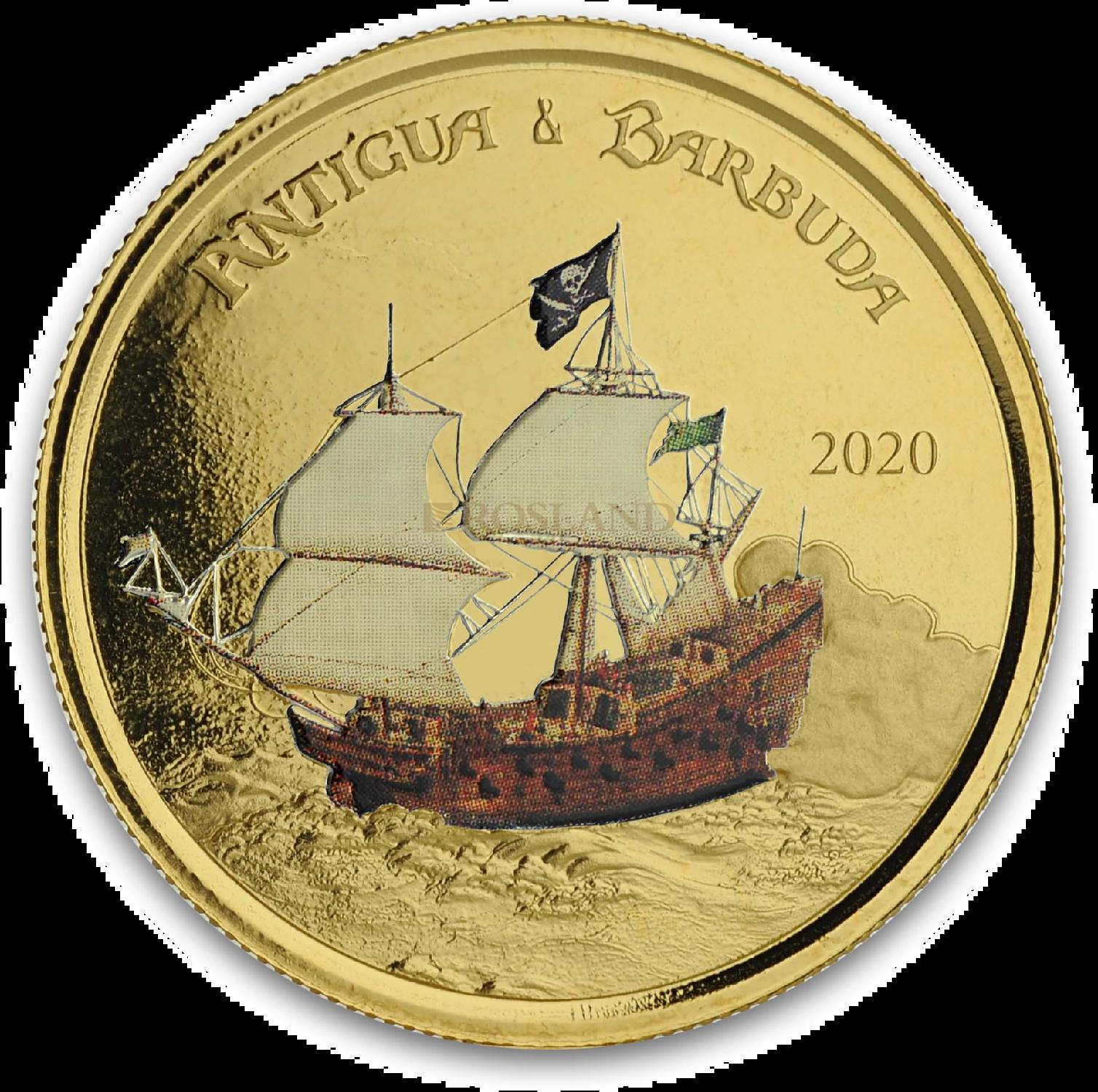 1 Unze Goldmünze EC8 Antigua & Barbuda Rum Runner 2020 PP (Koloriert, Box, Zertifikat)