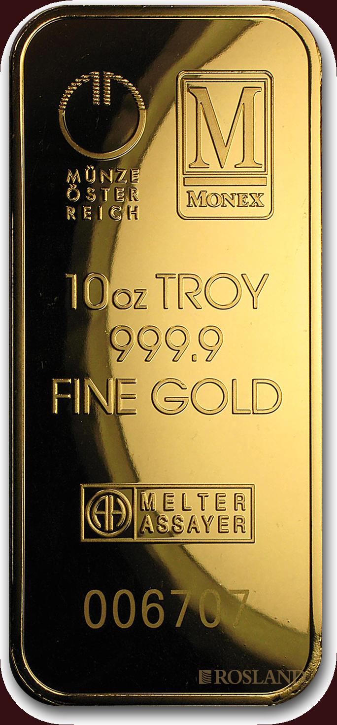 10 Unzen Goldbarren Münze Österreich