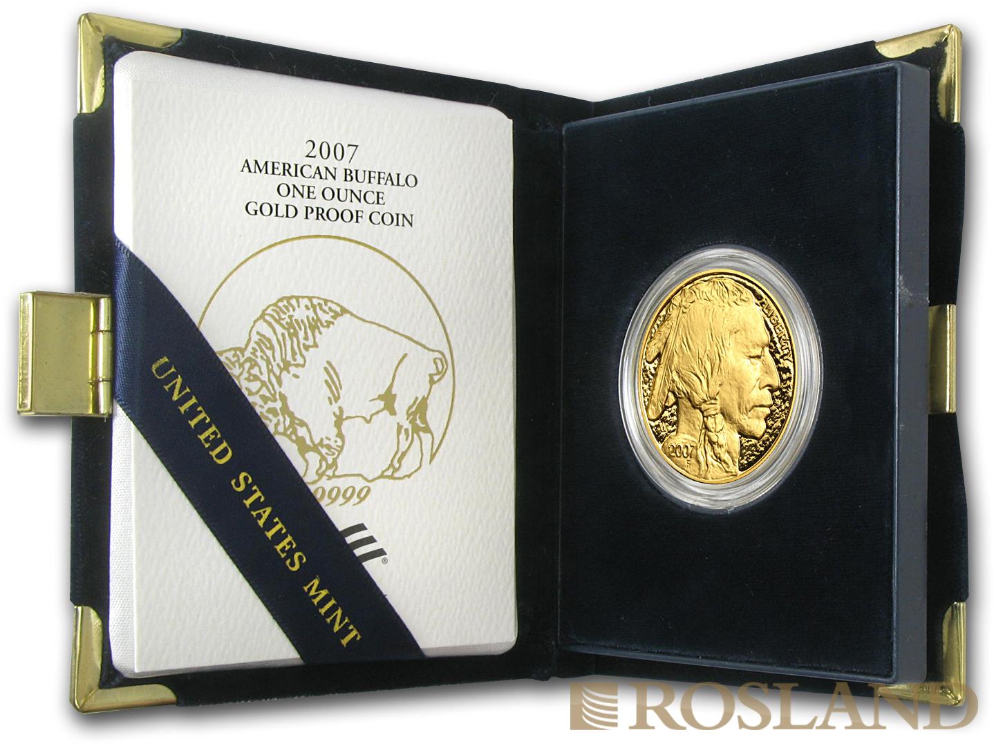 1 Unze Goldmünze American Buffalo 2007 PP (Box, Zertifikat)