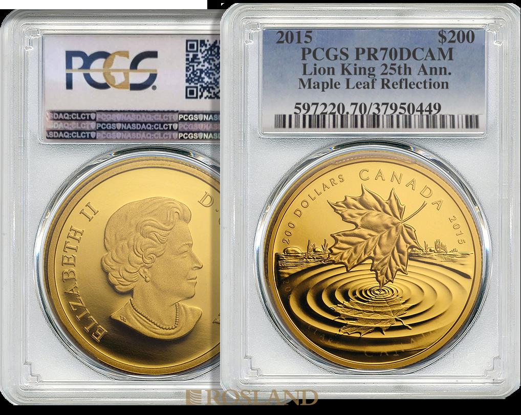 1 Unze Goldmünze Kanada Maple Leaf Reflection 2015 PP PCGS PR-70 (DCAM, .99999 Gold)
